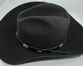492e0ccc29e Eddy Brothers Black Cowboy Hat Style Arizona with Leather Hatband and  Silver Medallions Size 7 1 4 01219