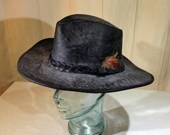Vintage Henschel Hat Black Leather Western Style Hat Size Medium 02500 36fd7dde8aea