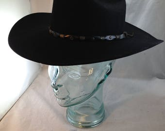 03b8621035cef Vintage Black Bailey Cowboy Hat Style Roswell 100% Wool Size 7 01569