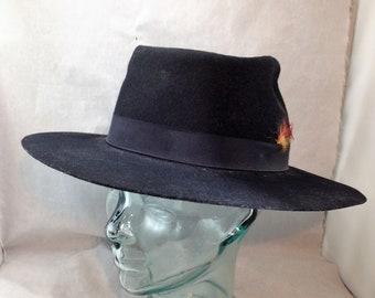b576bd8192f Vintage Harry Levinson Wide Brim Fedora Black with Black Ribbon Headband  and Feathers Size Medium 00530