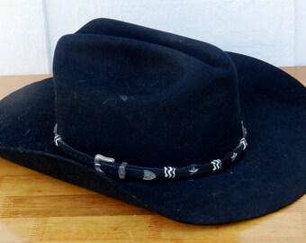 3207a647eff Black Eddy Brothers 5X Cattleman Style Cowboy Hat Size 7 1 4 00102