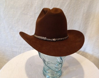 9aa99687 Bailey 5X Beaver Cowboy Hat Dark Brown with Brown Brick Style with Silver  Braid Hatband Size 7 02462