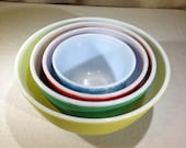 Vintage 1950 39 s Pyrex Primary Color Nesting Mixing Bowls-Set of 4 02615