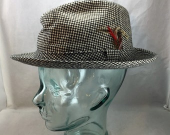 dc21a884b8694 Vintage Adam of New York Black and White Checked Fedora Size Medium with  Feather 02005
