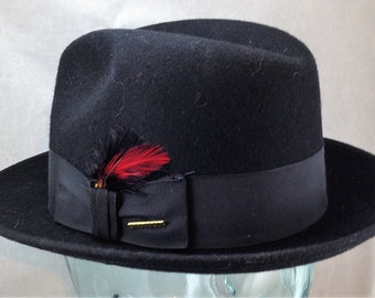 189eda2d07e Vintage Black Stetson Fedora Frederick Style with 2 Inch Curled Brim  Feather and Pin Decoration Size 7 or 56 CM 02194