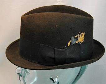 edad75c75036d Vintage Royal Stetson Fedora Black with Black Hatband featuring Multicolor  Feather Size 7 1 8 01393