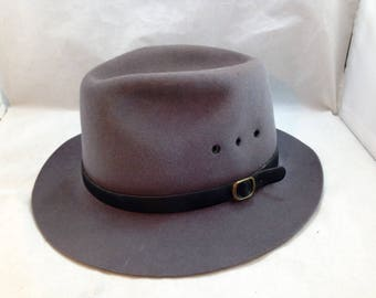 7487f747154 Vintage Beaver Brand 5X Fur Felt Fedora Style 1188 Color Charcoal Size 7  3 8 01835