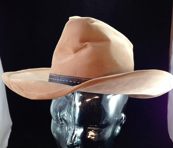 Vintage Bailey U-Rollit Cowboy Hat Beige Velour with Brown  83c59636806