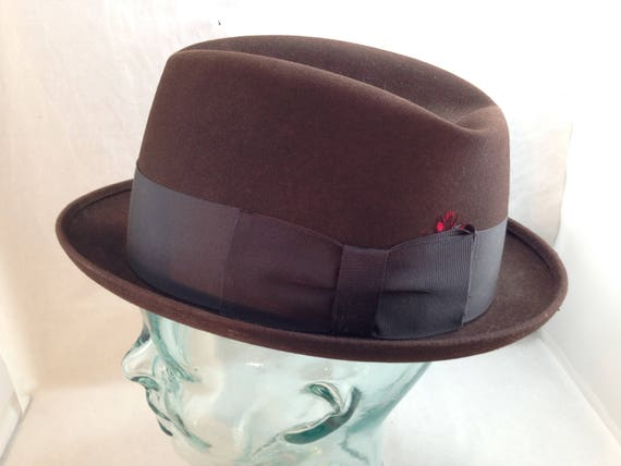Vintage Curled Brim Knox Fedora Brown Wool Felt with Black  fac8b109802d