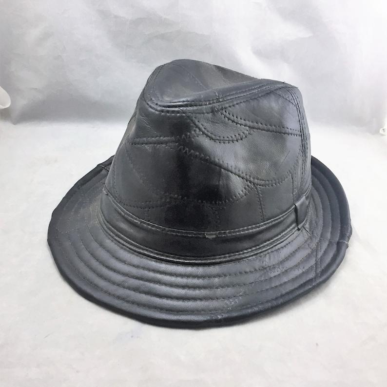 f6f4d3a2d8e8e Vintage Men s Black Leather Fedora Patchwork Construction