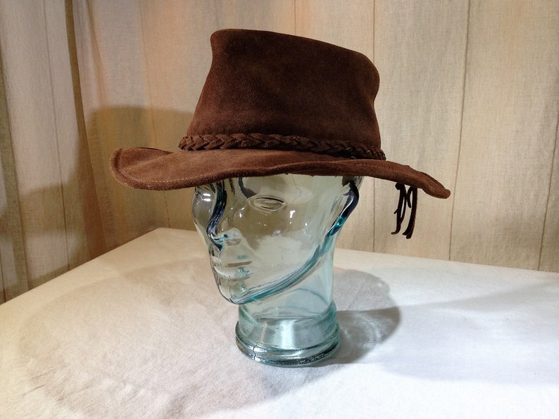 6046c56d Mexican Made Dark Brown Suede Leather Cowboy Style Hat Size Large 02499