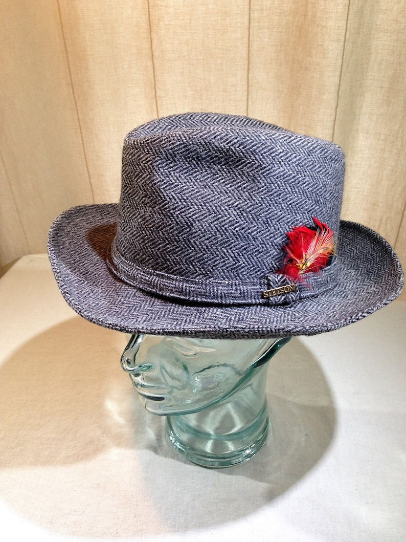 02dd478b9 Vintage Stetson Fedora Black and Grey Herringbone Pattern with Feather  Decoration and Stetson Pin Size 7 1/4 02567