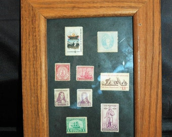 Framed Collection of Stamps From 1920's, 1930's Historical Figures    01332