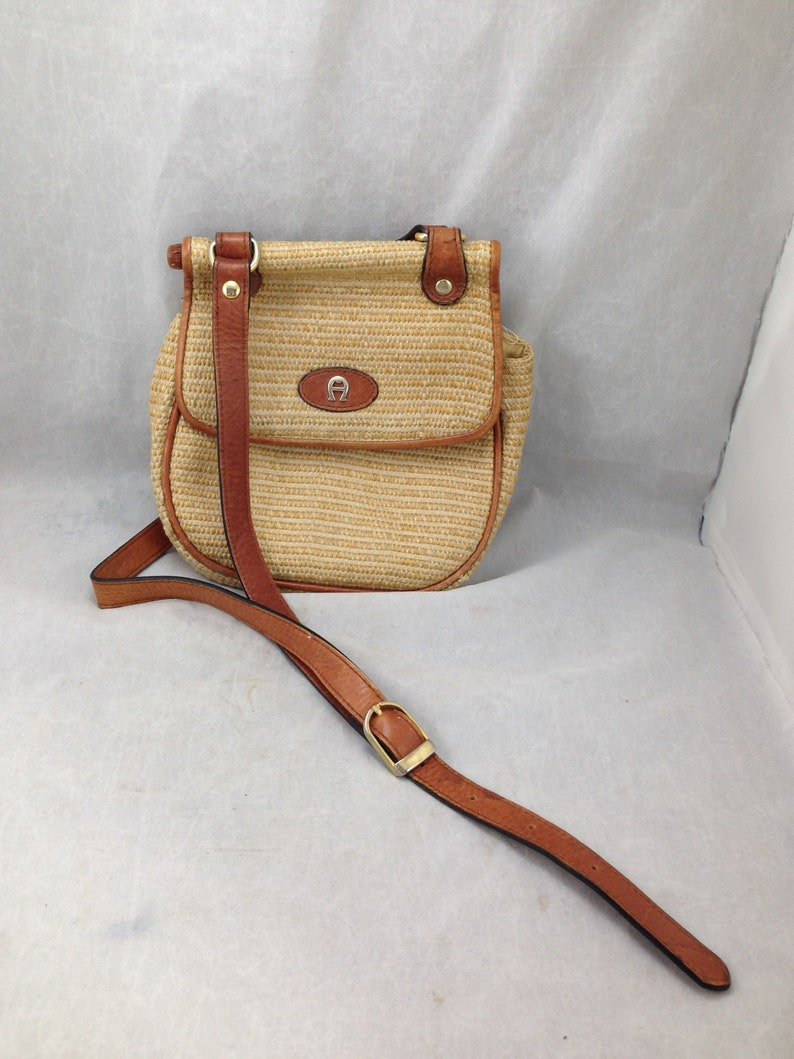 657f9e3b0a Vintage Etienne Aigner Cross Body Purse Woven Straw Fabric