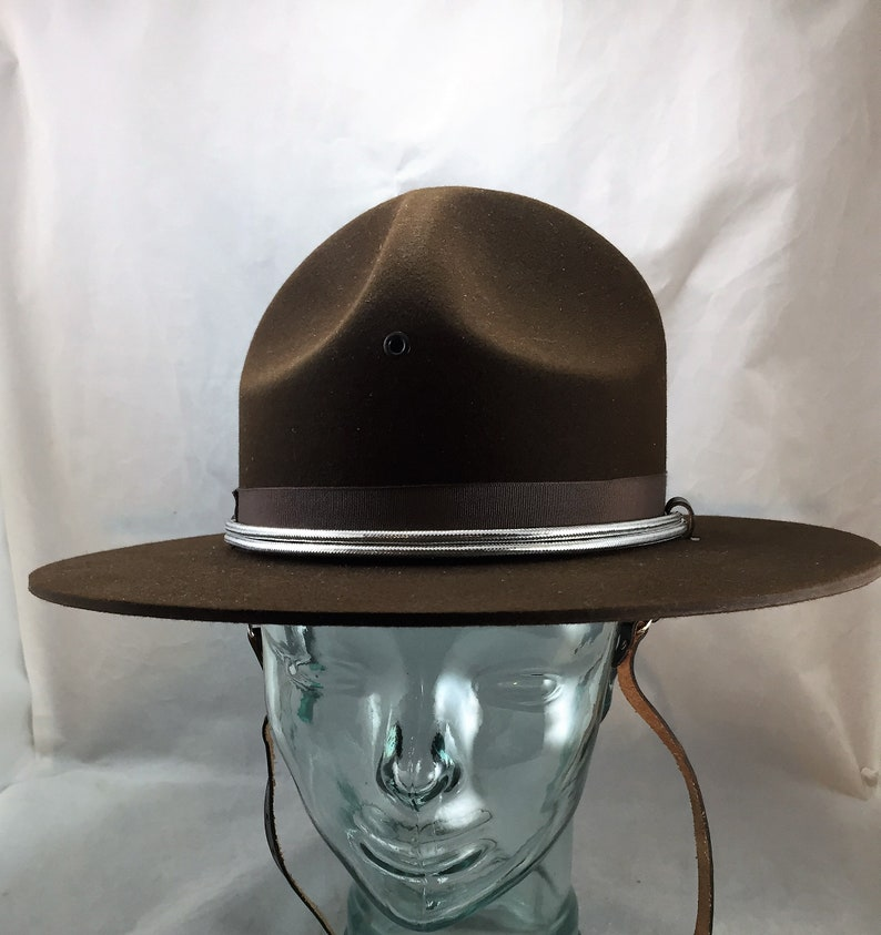 d4207486d Stratton Felt Campaign Hat in Chocolate Brown Size 7 1/8 with Chin Strap  and Silver Braid Hat Band New in Original Box 02003