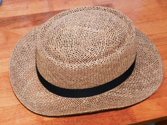 Vintage Men s Panama Straw Hat with black Hatband Size 7  29cd74cf147