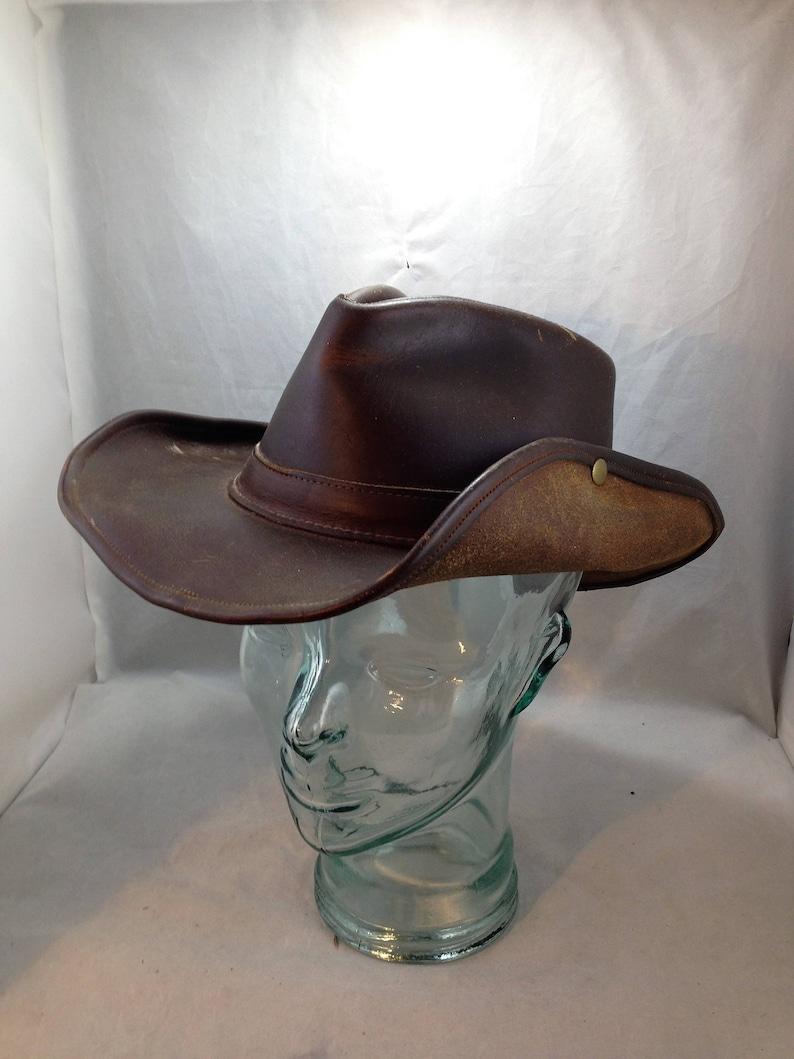 99c45b347c2 Henschel Hat Aussie Leather Safari Hat Size Large 01777