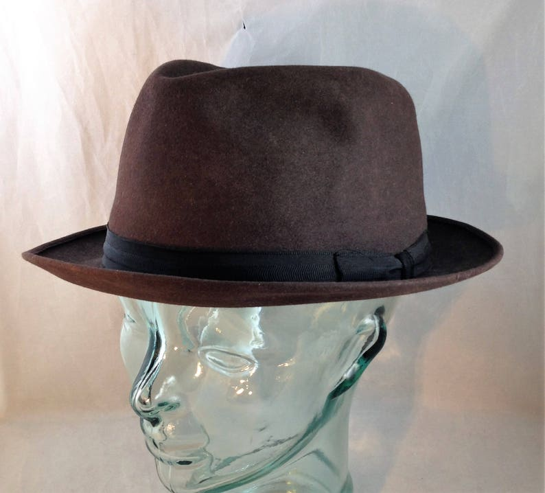 fafb29fe53426 Vintage Royal Stetson Falcon Fedora Dark Brown with Black Band