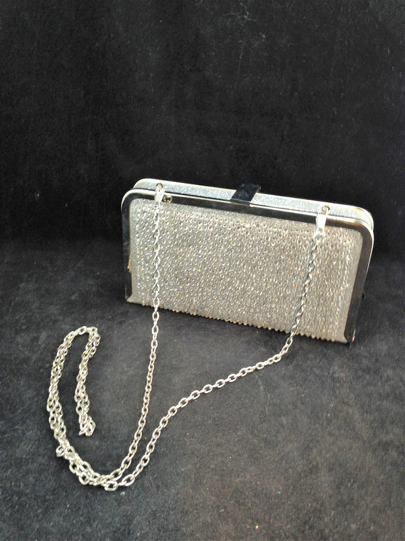 Silver Metal Purse with Silvered Fabric and Rhines