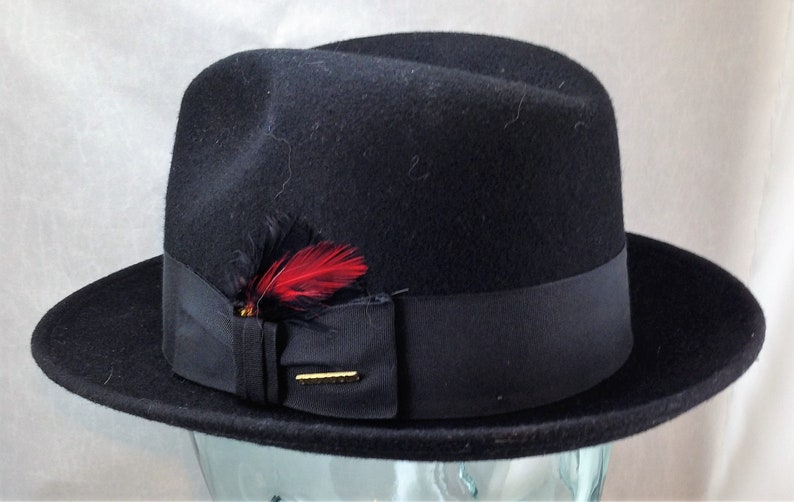 da74dad5f9 Vintage Black Stetson Fedora Frederick Style with 2 Inch Curled Brim  Feather and Pin Decoration Size 7 or 56 CM 02194