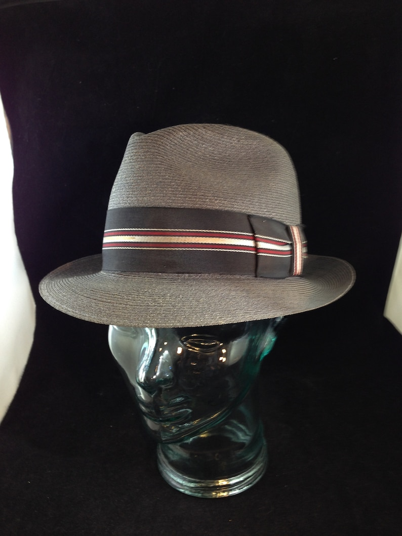 a22b91671eb6d Vintage Gray Straw Fedora Marked Genuine Milan Weave Either a