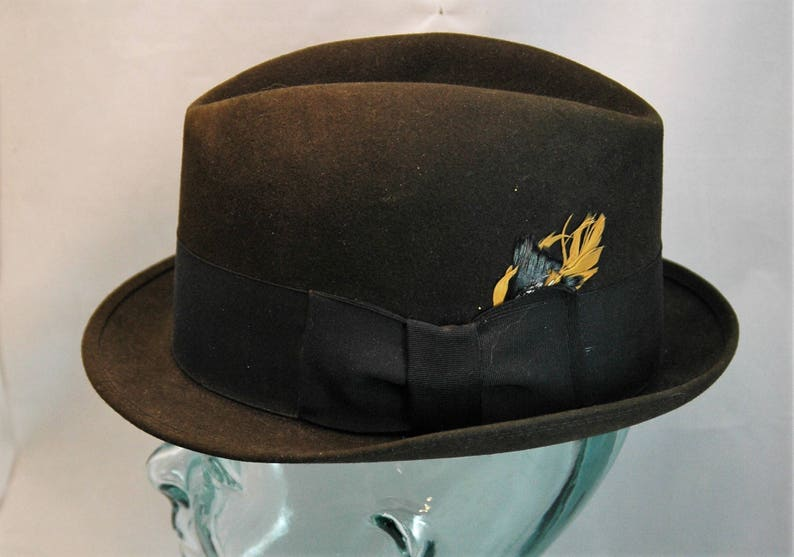 73677d14608c0 Vintage Royal Stetson Fedora Black with Black Hatband