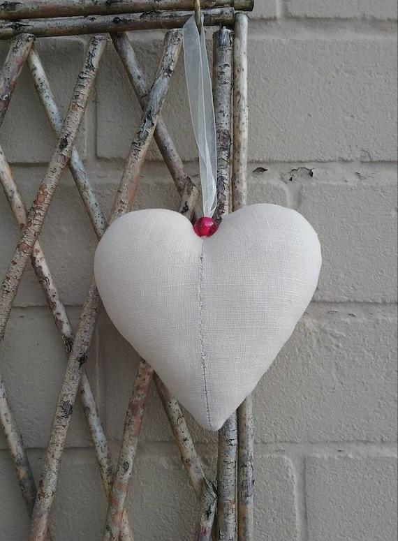 HANDMADE SHABBY CHIC  FABRIC HANGING HEART DECORATION PINK FLAMINGO GIFT