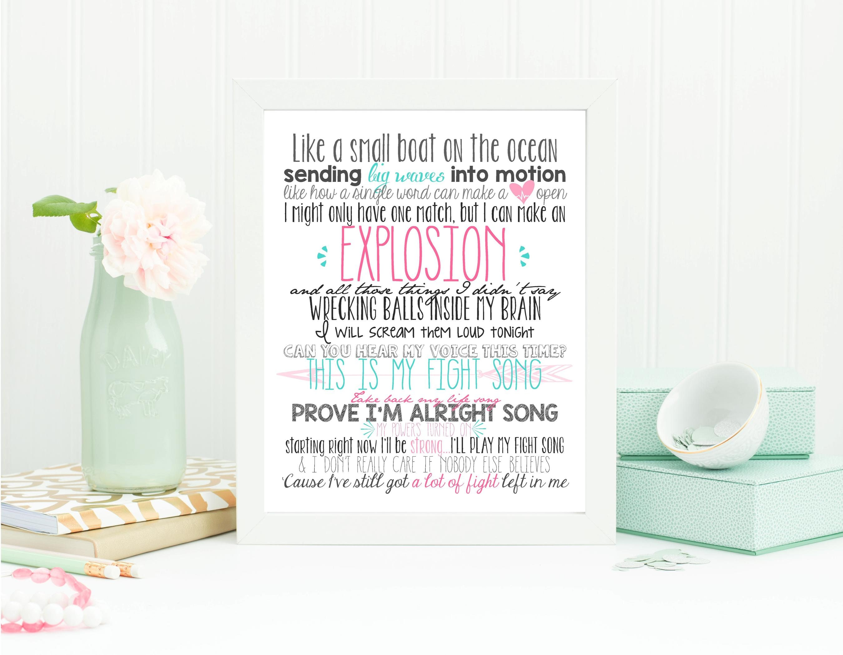 It is a picture of Fan Fight Song Lyrics Printable
