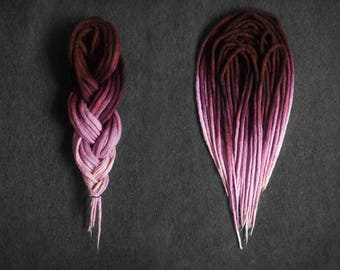 Wool dreadlocks  |  hand-dyed from brown to pink/purple  |  CHOOSE AMOUNT  |  woolies