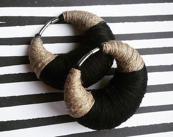 Pair of ear weights | SIMPLE DESIGN | 100% handmade | shipping worldwide in 5 days :) |hemp + black yarn