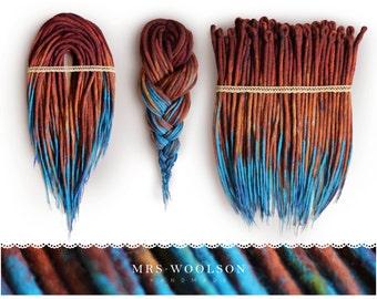 "Wool dreadlocks ""rusty turquoise"" | CHOOSE AMOUNT | handmade dreadlocks |"