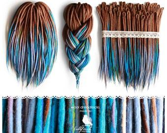 Wool Dreadlocks | CHOOSE AMOUNT | woolen brown-blue dreads, felted, handmade dreads
