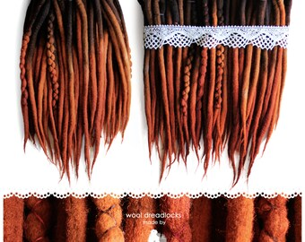 Wool dreadlocks | CHOOSE AMOUNT | hand dyed- dark brown and ginger
