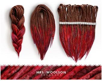 Wool Dreadlocks | CHOOSE AMOUNT | brown- red woolies | double-ended dreadlocks