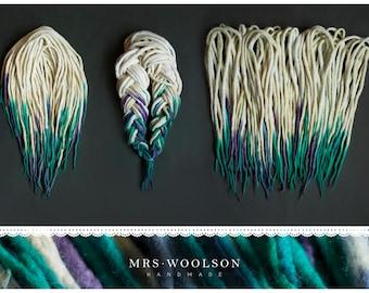 wool dreadlocks | CHOOSE AMOUNT | creamy white + turquoise shades