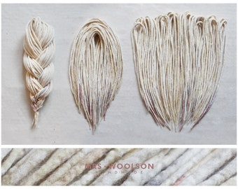 "Creamy white dreadlocks with few gray-purple endings | CHOOSE AMOUNT | one colour | 100% handmade | ""Sweet Meringue"""