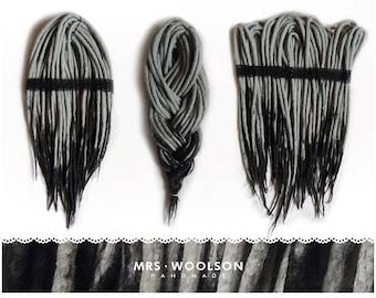 Grey and graphite | CHOOSE AMOUNT | wool dreadlocks | head in shades of grey |