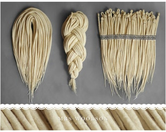 Creamy white wool dreadlocks | CHOOSE AMOUNT | one colour | 100% handmade