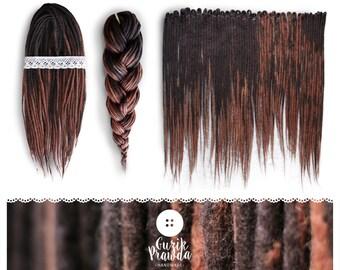 Wool Dreadlocks, woolen dark brown, long dreads, felted, handmade dreads, natural look, extensions | CHOOSE AMOUNT