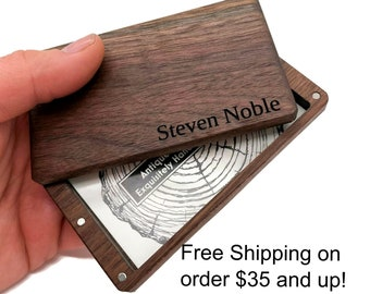 Business card holder, Business card case, wood wallet, Personalized business card holder, Engraved business card case