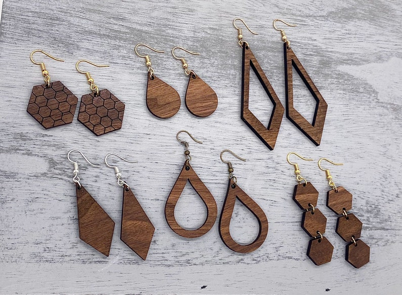 photo of handmade wood dangle earrings