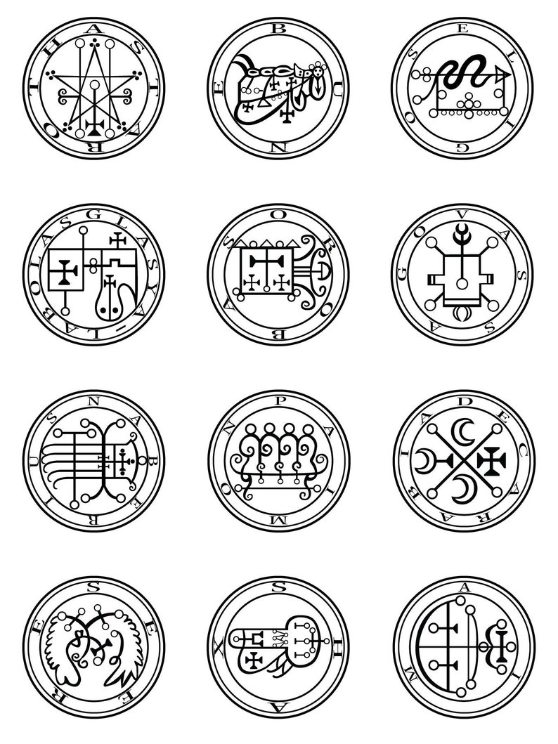 72 Goetic Demon Sigils - Digital Package ( png files)