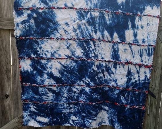 Tie Dye Rag Quilt Tie Dye Lap Quilt Tie Dye Gift Tie Dye Dorm Decor Tie Dye Blanket Tie Dye Throw Nautical Quilt Shibori Quilt