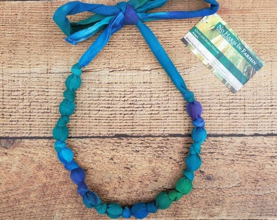 Tie Dye Necklace , Statement Necklace , Fabric Necklace , Fabric Beaded Necklace , One of a kind Necklace , Boho Gift , Festival Necklace