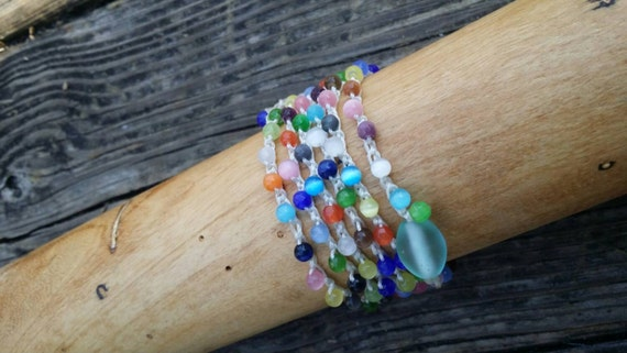 Crochet Beaded Wrap Bracelet /Bohemian Wrap bracelet/Yoga Bracelet/Beach Bracelet/Layering Bracelet/Cat's Eye Bead Bracelet/Crochet Necklace