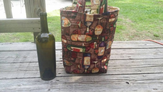 Quilted Wine Tote /Reversible Reusable Washable Wine Bag /Wine Gift Bag /Two Bottle Wine Bag / Wine Gift / Hostess Gift / Housewarming Gift