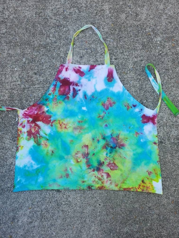 Tie Dye Kids Apron, Tie Dye Kids Craft Apron, Tie Dye Kids Kitchen Apron, Tie Dye Kids Cooking Apron, Kids Chef Apron