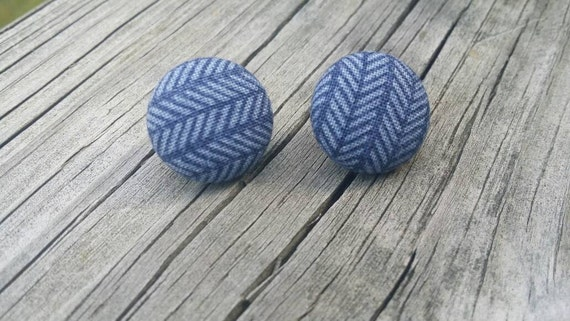 Button Earrings, Chevron earrings, Costume Jewelry, Fabric Earrings, Round Earrings, Nickel Free Earrings, Stripe Earrings, Blue earrings