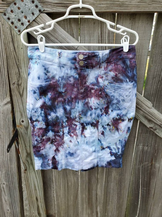 Tie Dye Skirt , Upcycled Tie Dye Skirt , Festival Skirt , Woodstock Skirt , One of a Kind Skirt , Denim Skirt , Boho Skirt , Hippie Skirt