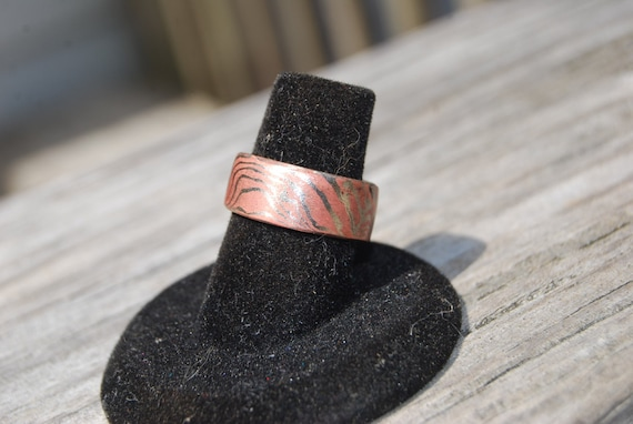 Mokume Gane ring, Copper and Nickel ring, Hand forged Mokume Gane ring, Hand forged ring, Hand forged wedding jewelry, Mokume wedding band